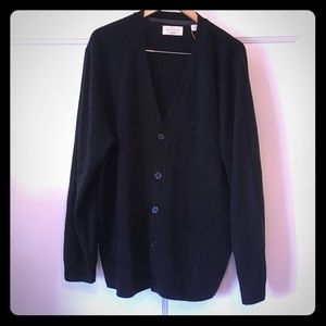 Weatherproof Vintage Ribbed Black Sweater Cardigan